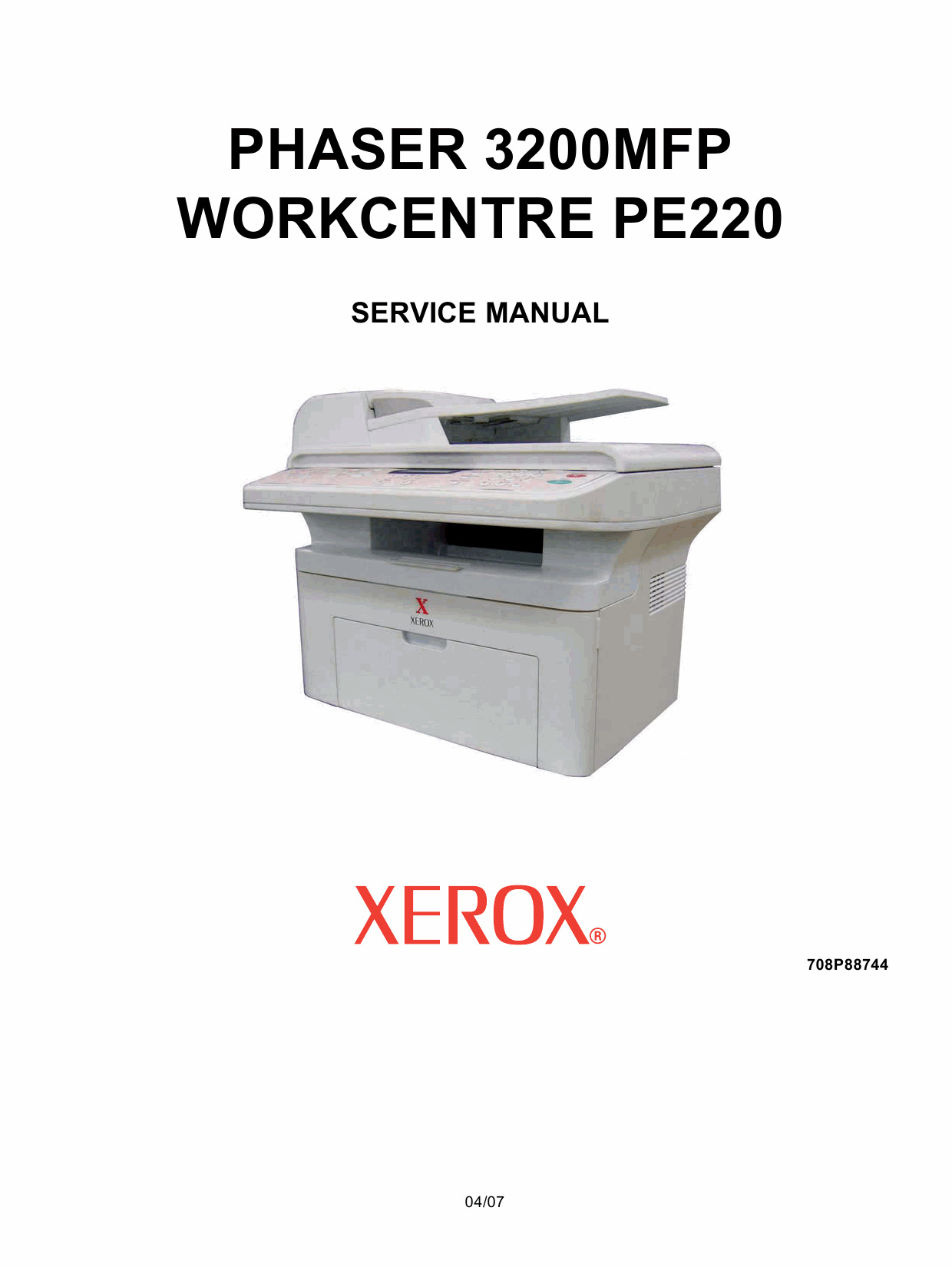 Xerox Phaser 3200-MFP WorkCentre-PE-220 Parts List and Service Manual-1